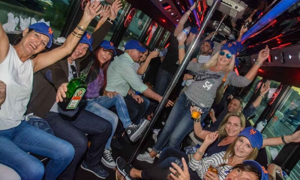 Party, Bus, Party Bus, Mets Game, Baseball, Pregame, Fun, Champagne, NYC, New York, New York City, DMC, Destination Management, Event, Event Planning